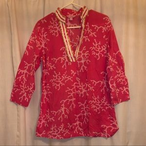 Lilly Pulitzer Pink Coral Tunic with Gold Accents